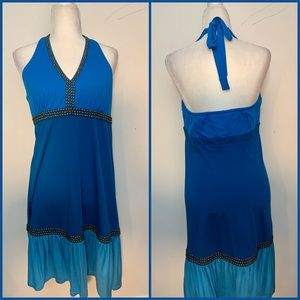 INC Macy's Blue Halter Studded Dress Size Large